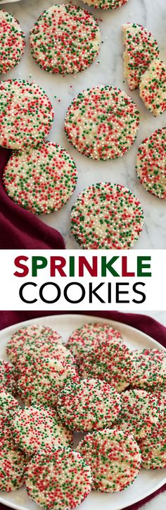 Sprinkle Cookies - these are are every kids dream! Soft sugar cookies are rolled in sprinkles to cover then pressed and baked. An easy, delicious treat! You can swap out the sprinkle colors to coordinate with the most recent holiday. Cookie Desserts, Holiday Desserts, Holiday Baking, Christmas Baking, Holiday Treats, Holiday Recipes, Cookie Recipes, Dessert Recipes, Sprinkle Cookies