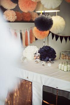 black, white, peachy coloured pompoms