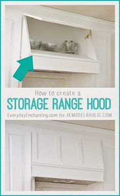 How to create a Custom Storage Range Hood via kitchenstorage whitekitchen DIYkitchen rangehood 270145677635777667 Laundry Room Storage, Diy Storage, Kitchen Storage, Storage Ideas, Closet Storage, Hidden Storage, Cabinet Storage, Organization Ideas, Kitchen Redo