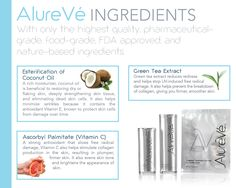 AlureVé uses only the best ingredients for your skin: Highest Quality, Pharmaceutical-grade, Nature-based, Food-grade, FDA approved.