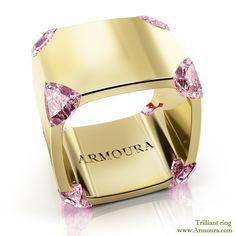 Trilliants ring in yellow gold with pink diamonds from Armoua. Diamond Jewelry, Gold Jewelry, Jewelry Rings, Jewelry Accessories, Fine Jewelry, Pandora Jewelry, Diamond Earrings, Bijoux Design, Schmuck Design