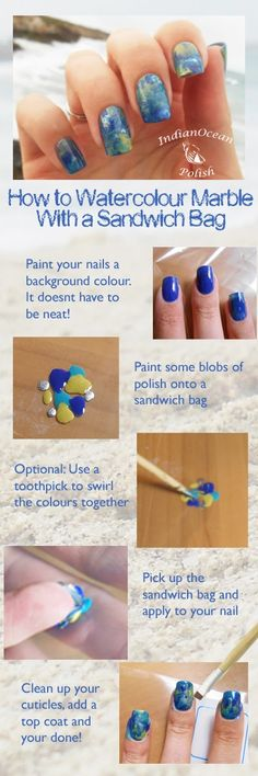 Indian Ocean Polish: Oceanic Fused Glass Nail Art: How to get a watercolour marble look with a sandwich bag