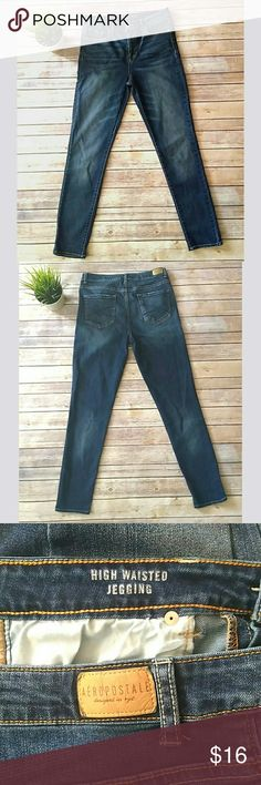 Aeropostale high waisted jegging dark wash jeans Aeropostale high waisted jeggings in a dark wash.  They are a classic 5 pocket style. 78% cotton 20% polyester 2% spandex Waist: 16 inches laying flat Rise: 11 inches Inseam: 30 inches Pet free smoke free home Aeropostale Jeans Skinny