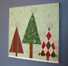 Canvas and scrapbook paper Christmas tree art