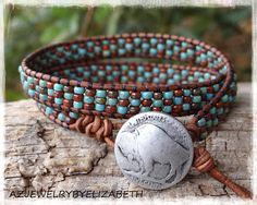 Native American Bracelet/ Seed Bead Leather Wrap Bracelet/ by nicole Beaded Earrings Native, Beaded Choker Necklace, Beaded Jewelry, Bead Loom Bracelets, Beaded Wrap Bracelets, Jewelry Bracelets, Men's Jewelry, Bohemian Style Jewelry, Hippie Jewelry