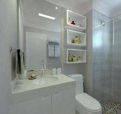 Veja mais de 85 fotos e modelos de banheiro pequeno decorado, para renovar o seu hoje mesmo com as super dicas para economizar no espaço e ainda decorar. Bathroom Shelf Decor, New Bathroom Ideas, Bathroom Images, Bathroom Design Luxury, Bathroom Design Small, Diy Home Decor, House Design, Manual, Kids Vanities