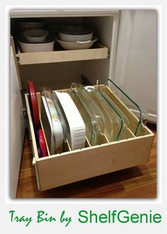 Casserole lovers, brownie bakers, lasagna makers...this tray bins for you! #KitchenOrganization #PullOutShelves #TrayBin