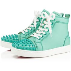 Christian Louboutin Lou Spikes Women's Flat (111210 RSD) ❤ liked on Polyvore featuring shoes, sneakers, christian louboutin, flats, sapatos, aquamarine, christian louboutin shoes, spiked flats, flat heel shoes and spiked high tops