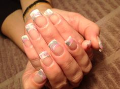 Nail art, acrylic marble in white, pink and silver