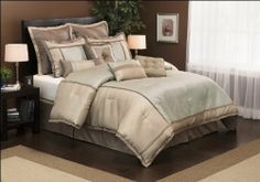 """8 Piece Cal King Flynn Comforter Bedding Set by KingLinen. $79.99. Premium textured fabric with a slight sheen adds sophistication to this contemporary bedding set. 2 Euro shams and 2 Decorative pillows included. Additional decorative pillows available. FeaturesColor: Antique Green/BrassSize: California KingMachine washable Matching curtains availableThis set includes:1 Comforter (104""""x92"""")2 Shams (20""""x36""""+3"""")1 Bedskirt (72""""X84""""+15"""")2 Decorative Cushions2 Eu..."""