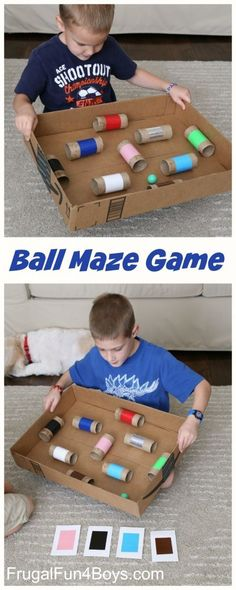 Make a Ball Maze Game from a Cardboard Box and Empty Toilet Paper Rolls! Hand-eye coordination activity for a rainy day.