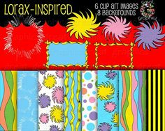 Fabulous NEW Dr Seuss Lorax Inspired Digital Paper and Clip Art for birthday invitation and decorations $7.00