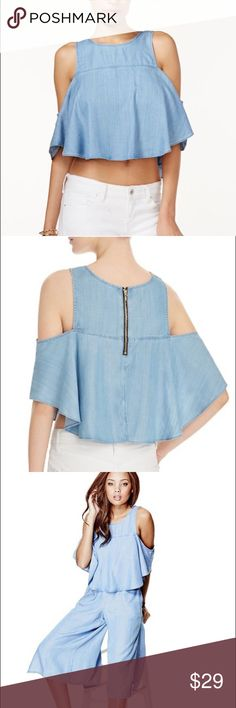 "Guess Chambray Ruffle Cold Shoulder Gently worn Chambray top from Guess. Flowy and airy denim top with 3/4 sleeves, exposed zipper at back with split hem overlay at back. 17"" from back neck to hem. Lyocell. See shop for matching culottes! Guess Tops Crop Tops"