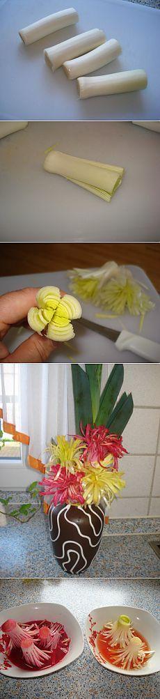 Цветы из лука-порей : Украшение блюд. Шаг-за-шагом