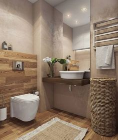 Holz im Badezimmer vermittelt viel Wärme, wie hier von Angelina Alekseeva designed. Unsere Top 5 der Woche gibt es im Artikel!