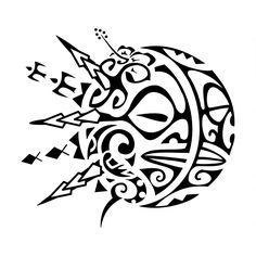 Sunmoon. Dualism. The sun and moon of this tattoo are made using two tiki for protection with the moon being a manta (freedom, harmony). The S shaped manaia inside of the sun represents a guardian angel[...] More details at http://www.tattootribes.com/index.php?newlang=English&idinfo=8016