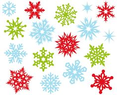 Christmas Snowflakes Cute Digital Clipart  by YarkoDesign on Etsy