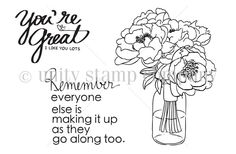 """Created by Angie Blom. This kit contains 3 stamps.  Flowers in vase measure approximately 2.5"""" x 3.5"""".  """"You're great i like you lots"""" sentiment measures approximately 1.25"""" x 2"""".  """"Remember everyone else is making it up as they go along too"""" sentiment measures approximately 2"""" x 2"""".  All Unity Stamps are pre-cut, mounted on cling foam and ready to use right out of the package – you can mount our stamps on any acrylic block. Unity is known for its HIGH QUALITY red rubber stamp – to be used…"""