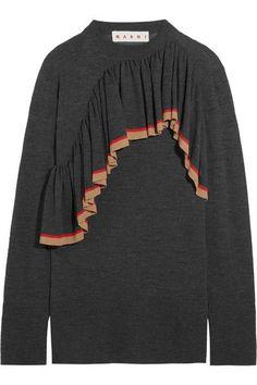 Marni - Ruffled Wool Sweater - Navy - IT46