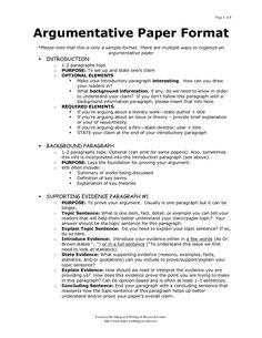 outline of argumentative essay sample - Google Search