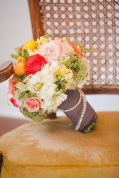 Love the colors and the wrap on this wedding bouquet!  See more on #SMP here: http://www.StyleMePretty.com/north-carolina-weddings/charlotte/2014/05/13/romantic-wedding-inspiration-separk-mansion/ Floral Design: ChelishMoore.com - Casey Hendrickson Photography: CaseyHPhotos.com
