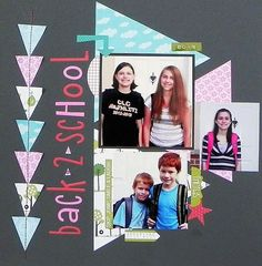 How to make a back to school scrapbook page using basic shapes featuring a triangle by Jennifer Schmidt.