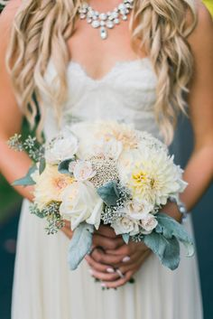 Dusty Miller and Dahlia Bouquet With Seeded Eucalyptus   LOIE PHOTOGRAPHY   http://knot.ly/6493BIvzH