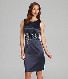 10. #momselect and #yoursantastory  Calvin Klein Satin Paillette Dress #Dillards - This is pretty.