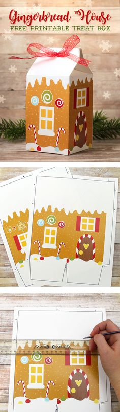 Free printable gingerbread house treat box. This is the cutest way to package up Christmas goodies for neighbor gifts.