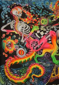 trippy and psychedelic skeleton Psychedelic Art, Trippy Wallpaper, Iphone Wallpaper, Arte Peculiar, Art Beat, Trippy Painting, Plakat Design, Stoner Art, Psy Art