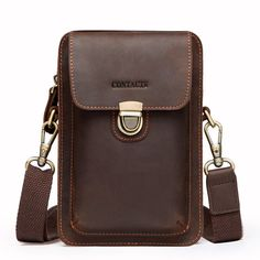 New Retro Men/'s Envelope Genuine Real Cow Leather Hand Bag Wallet File package