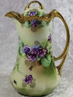 Pickard Limoges Porcelain Chocolate Pot with Violets Antique Dishes, Vintage Dishes, Antique China, Vintage China, Chocolate Pots, Chocolate Coffee, Sweet Violets, Coffee Set, Coffee Server