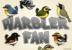 Birdorable Northern Parula, Black-and-white Warbler, Hooded Warbler, Common Yellowthroat, American Redstart, Blackburnian Warbler, Worm-eating Warbler