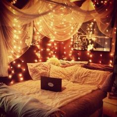 Soft reading nook with pretty lights