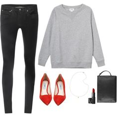 Minimal + Classic: dash of red with grey & black