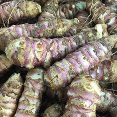 The misnamed Jerusalem artichoke has no real link with Jerusalem, and isn't related to the other artichokes. It looks a bit like a knobbly pink skinned ginger root and has a sweet, nutty flavour, reminiscent of water chestnuts. Although not widely used (perhaps because of its awkward appearance)  it is an inexpensive and versatile food. #CSL