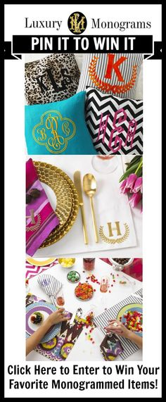 Click here to enter to win free monogrammed items: http://www.luxurymonograms.com/Articles.asp?ID=253 #contest #pinittowinit #giveaway