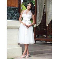 Empire Halter Knee-length Tulle Wedding Dress – USD $ 89.69 #00035281