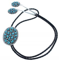 Turquoise Sterling Silver Navajo Bolo Tie