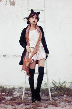 cardi scarf combo Punk, Street Style, Grunge, Clothes, Fashion, Outfits, Moda, Clothing, Urban Style