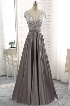 Simple Gray Satin V Neck Long Sequined Evening Dress, Formal Dress ,prom dress - 2020 New Prom Dresses Fashion - Fashion Of The Year Grey Evening Dresses, Grey Prom Dress, Beautiful Prom Dresses, Sexy Dresses, Evening Gowns, Formal Dresses, Grey Gown, Long Grey Dress, Silver Prom Dresses
