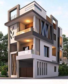 Modern Exterior Home Design Bungalow House Design, House Front Design, Small House Design, Modern House Design, Front Elevation Designs, House Elevation, Building Exterior, Building Design, Modern Exterior