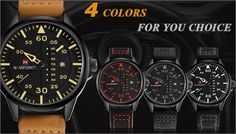 Sport Military Leather Strap Wristwatch for MEN - GET IT NOW CLICK HERE  http://stylishaccessory.com/sport-military-leather-strap-wristwatch-for-men/