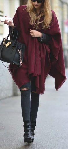 Burgundy poncho scarf.