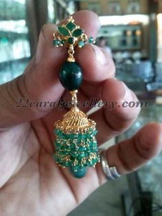 Latest Collection of best Indian Jewellery Designs.emerald jhumkas by shubham jewellers Gold Jhumka Earrings, Gold Earrings Designs, Necklace Designs, Beaded Earrings, Beaded Jewelry, Gold Designs, Antique Earrings, Antique Jewellery, Gold Jewelry Simple