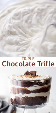 Triple Chocolate Trifle - - Triple Chocolate Trifle with chocolate cake, whipped cream, chocolate pudding, and heath bar bits. This is a chocolate lovers dream! Mini Desserts, Chocolate Trifle Desserts, Chocolate Dishes, Mason Jar Desserts, Chocolate Mug Cakes, Easy Desserts, Delicious Desserts, Chocolate Lovers, Chocolate Pudding