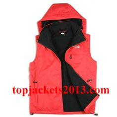 The North Face Outlet Mens Summit Series Hoodie Vest Red Black