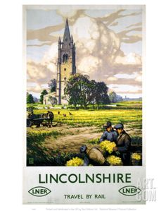 Lincolnshire, Travel by Rail. Vintage LNER Travel Poster by 'B' (John Bee) Posters Uk, Train Posters, Railway Posters, Illustrations And Posters, Poster Art, Poster Prints, Art Prints, Poster Vintage, Vintage Travel Posters