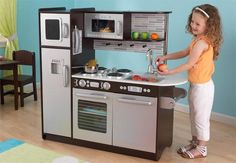 Shop KidKraft 53260 Uptown Espresso Wooden Pretend Play Toy Kitchen for Kids. Free delivery and returns on eligible orders of or more. Cocina Kidkraft, Kidkraft Kitchen, Kitchen Playsets, Wooden Play Kitchen, Play Kitchen Sets, Toy Kitchen, Real Kitchen, Mini Kitchen, Play Kitchens