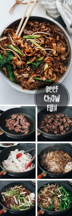 This beef chow fun is loaded with fat noodles, tender steak, and crisp veggies. Even better, now you can cook restaurant-style fried noodles in your home kitchen with a flat skillet! {Gluten-Free Adaptable} #chinesefoodrecipes